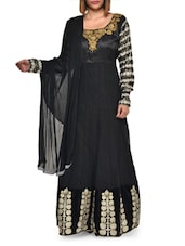 Embroidered Black Art Silk Suit Set - Aggarwal Sarees