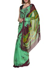Printed Green And Purple Georgette Saree - Aggarwal Sarees