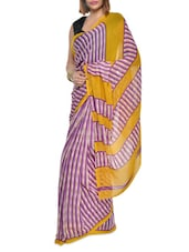 Printed Purple Striped Georgette Saree - Aggarwal Sarees