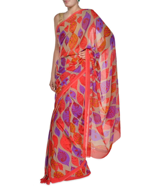 Colourful Leaf Print Georgette Saree - Aggarwal Sarees