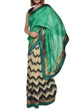 Chevron Print Green Georgette Saree - Aggarwal Sarees