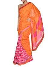 Printed Orange And Pink Georgette Saree - Aggarwal Sarees