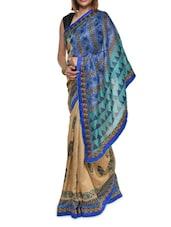 Multi Print Blue Georgette Saree - Aggarwal Sarees