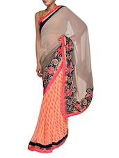 Printed Beige And Peach Georgette Saree - Aggarwal Sarees