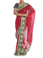 Gold Trimmed Red Georgette Saree - Saraswati