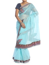 Solid Sky Blue Saree With Gold Border - Saraswati