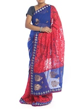 Royal Blue Brasso Saree With Net - Saraswati