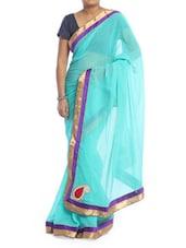 Sky Blue Chiffon Saree - Saraswati