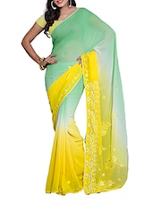 Mint Green And Yellow Saree - Saraswati