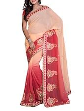 Red And Peach Shaded Saree - Saraswati