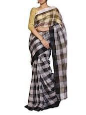 Black And White Checkered Saree - Cotton Koleksi