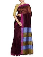 Magenta Striped Saree With A Blue And Yellow Pallu - Cotton Koleksi