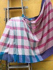Blue, Pink And White Checkered Saree - Cotton Koleksi