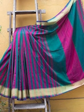Teal And Magenta Striped Pakwan Cotton Saree - Cotton Koleksi
