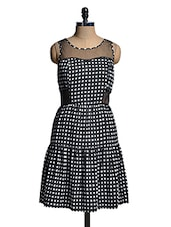 Black And White Box Patterned Dress - Mishka
