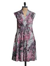 Multicoloured Printed V-Neck Dress - Mishka