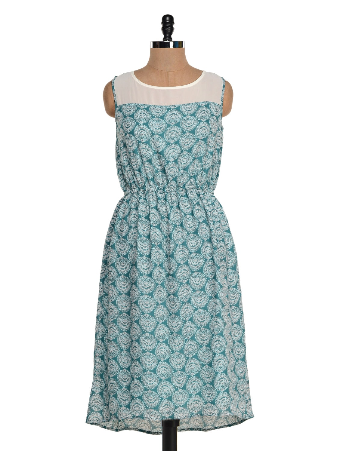 Green And White Printed Dress - Colbrii