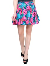 Blue And Pink Floral Skirt - Colbrii