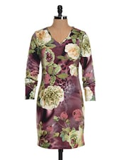 Purple Floral Print Dress - Colbrii