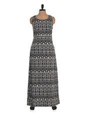 Black And White Tribal Print Maxi Dress - Colbrii