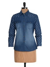 Blue Printed Denim Shirt - Colbrii