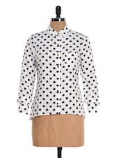 Black And White Heart Print Shirt - Colbrii