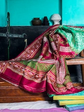 Light Green And Maroon Saree - Murshidabadi Silk