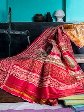 Red And Dark Mustard Printed Saree - Murshidabadi Silk
