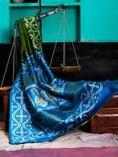 Blue And Green Printed Saree - Murshidabadi Silk
