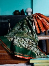 Orange And Green Silk Saree - Murshidabadi Silk