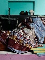 Blue And Dark Brown Batik Saree - Murshidabadi Silk