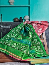 Green And Coral Pink Silk Saree - Murshidabadi Silk