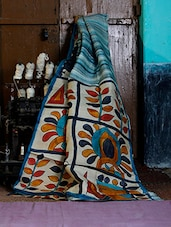Brass Printed Blue Silk Saree - Murshidabadi Silk