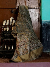 Hand-woven Printed Gold Saree - Murshidabadi Silk