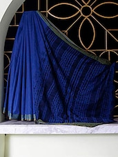 Blue Tangail Cotton Saree With Shibori Aanchal - SaDaF