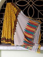 Yellow Tangail Cotton Saree With Block Prints - SaDaF