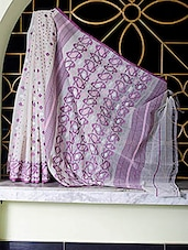 Off-white, Purple Dhakai Jamdani All Over Design Saree - SaDaF