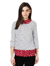 White And Navy Blue Striped Top With A Peter Pan Collar - Citrine
