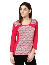 Pink And Grey Printed Full Sleeved Top - Citrine
