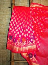 Pink Patterned Banarasi Saree With Floral Border - BANARASI STYLE