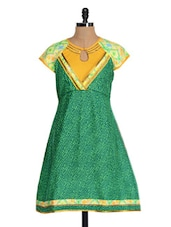 Green And Yellow Flared Kurti - Glam And Luxe