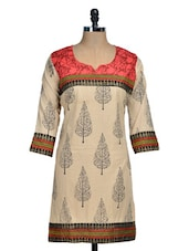 Beige Kurti With Black And Red Print - Rainbow Hues