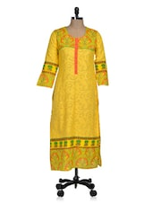 Yellow Kurti With Jacquard Weave - Rainbow Hues