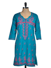 Blue Chikan Kurti With Pink Embroidery - Rainbow Hues