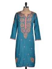 Blue Chikan Kurti With Pink Piping - Rainbow Hues