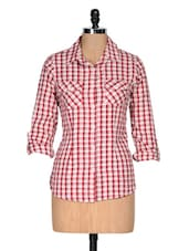 Roll-up Sleeve Red And White Checkered Shirt - Overdrive
