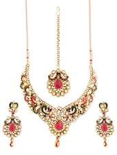 Multi-coloured Stone-studded Necklace, Earrings And Maangtika Set - Vendee Fashion