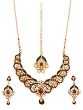Multi-coloured Stone-studded Necklace, Earrings And Maangtika Set - Vendee Fashion - 944783