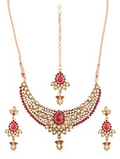 Pink And White Stone-studded Necklace, Earrings And Maangtika Set - Vendee Fashion