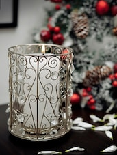 Metal And Crystal Candle Holder - The Yellow Door